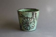Green underglaze beaker 9.5cm w x 9cm h SHIPPING /POSTAGE NOT INCLUDED Customers will be contacted for shipping costs