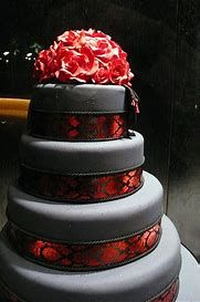 Grey Cake With Red Accents Shades Of Gray Black Wedding Cakes Gothic Wedding Cake Gray Wedding Cake