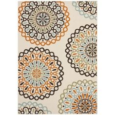 Safavieh Veranda Piled Indoor/ Outdoor Cream/ Terracotta Rug (8' x 11'2) | Overstock.com