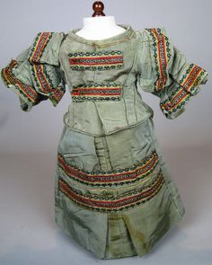 Antique French Fashion or China Papier-mache Doll Dress Outfit