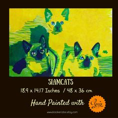 The skilfully made illustration in the remarkable pop art painting presents Siam cats in a lovely pose.     That what impresses in the elegant animals mostly are the eyes. Therefore, these are also worked in special way and are emphasised in a beaming blue.     Otherwise triply shown Siam is a cat completely in pop art style in the luminous tones green and yellow.     Their look is directed upwards where apparently a snack waits for them.     The illustration made by hand in acrylic owns the…