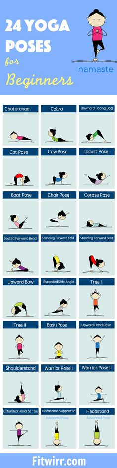24 Yoga Poses for Beginners. Chaturanga, cobra, downward facing dog, and many more. Rejuvenate your body and calm your mind.
