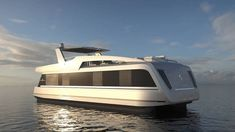 You have never seen a houseboat like this! Starting at and going up to they look like a hybrid boat/trailer. The pricing we have seen this OverBlue yacht will run you but looking at the range and comfort Might be a nice alternative to a big Sea Ray! Luxury Houseboats, Luxury Yachts, Tiny Boat, Floating Architecture, Boat Companies, Houseboat Living, Big Sea, Water House, Float Your Boat