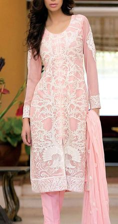 Buy Pink Embroidered Chiffon Shalwar Kameez by Amna Ismail 2015