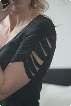 DIY Slash Sleeve Tee: Great way to add interesting detail to a t-shirt, with an intriguing hint of skin.#refashion