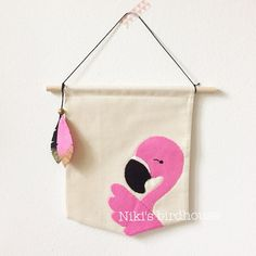 Flamingo flag with felt festhers wall hanging by NikisBirdhouse
