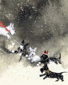 Scottish Terrier Cards Set of 12 Scotties Snowball fight Westie Christmas Greeting Cards - Dogs in snow - winter notecard