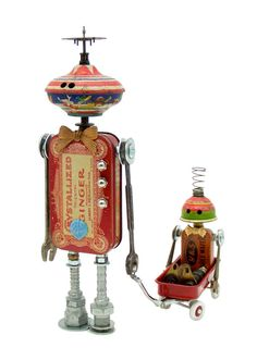 "-""Mac and Tosh"" - Pearl Pearl Liu LaVelle, make your own robots. Recycled Robot, Recycled Art, Repurposed, Altered Tins, Altered Art, Steampunk Robots, Grand Art, Arte Robot, Sculpture Metal"