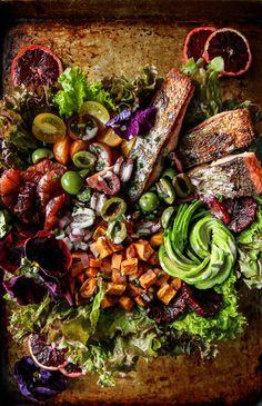 Crispy Salmon, blood orange and avocado salad from HeatherChristo.com