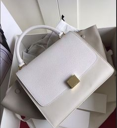 Celine Collection Outlet-Celine Trapeze Bag with GREY+Creamy white