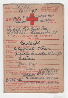 WWII Identity Card for British Red Cross nurse Elizabeth Joan Rowlands 1944 Red Cross Society, Christian Names, Vintage Nurse, Royal Navy, Junk Journal, Bristol, Ww2, Identity, British