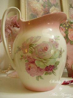 Staffordshire jug  http://shabbyshaq.blogspot.com.au/2012/01/for-sale-pink-blush-old-foley.html
