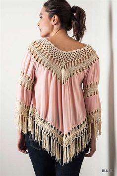 Umgee Usa Crochet Fringe Top Blush Southern Boho Gypsy Hippie Shirt XL,1X,2X #ClothingBucket #KnitTop #Casual