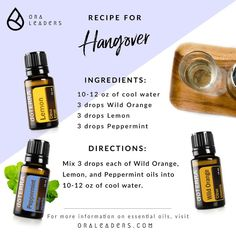 , Drank too much alcohol last night? Here's a refreshing drink to help you banis. , Drank too much alcohol last night? Here's a refreshing drink to help you banish that ugly hangover and get you ready to face your day! Hangover Essential Oils, Essential Oils Guide, Essential Oil Spray, Essential Oil Diffuser Blends, Doterra Essential Oils, Natural Essential Oils, Doterra Blends, Cleanser, Young Living