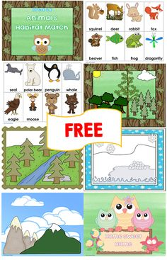 free animal-habitat-match printable for Pre-K and K, 4 habitats and 16 animals