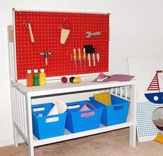 Parents asked a group of crafty bloggers to make over a diapering station with just $50 and basic supplies from their home. Get inspired by their thrifty transformations, like this one: a pretend play-work station.