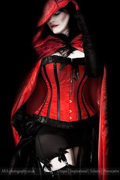 red | hooded | gothic | corset