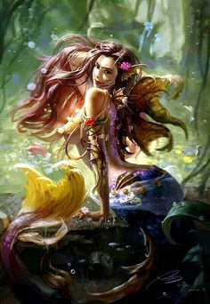 I love all fantasy and mythical stuff, but my favorite ones are mermaids.So this is a collection of mermaid images I've been picking all over the internet. 3d Fantasy, Fantasy Kunst, Fantasy Girl, Fantasy Mermaids, Mermaids And Mermen, Magical Creatures, Sea Creatures, Sirene Tattoo, Mermaid Fairy
