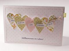Baby & Geburt - Zur Geburt: genähte Karte *personalisiert* - ein Designerstück von Gluecklichesherz-Bianca bei DaWanda