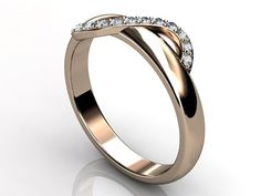 14k rose gold diamond unusual unique wedding band by Jewelice, $820.00