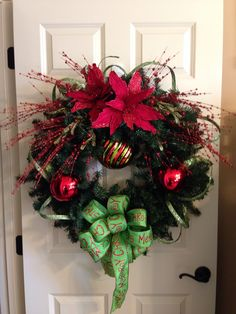 Traditional Christmas wreath in red and green From Southern and Sassy Door Decor and More on Facebook