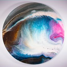 Aerial View of Impermanence III  Acrylic & resin on wood  60in dia. x 3in  Arthur Brouthers