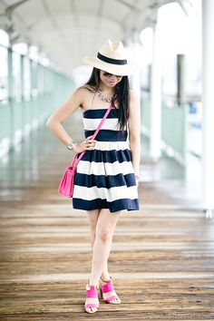 Sailing away in this #nautical summer dress with splash of pink accents. #OOTD