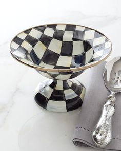 MacKenzie-Childs Small Courtly Check Compote - Neiman Marcus