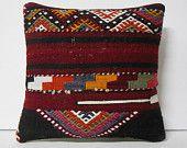 "16""striped pillow turkish cushion throw pillow kilim pillow decorative pillow cover accent pillow outdoor floor sham bohemian deco"