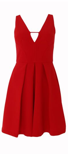 Fun fit-and-flare red sleeveless dress with a plunging cutout v-neck and pleated skirt. - Back hidden zipper - V-neck with cutout - Midnight, nonstretch fabric - Fully lined - 100% Polyester - Hand wa