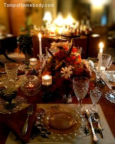 Thanksgiving tablescape with Fostoria crystal