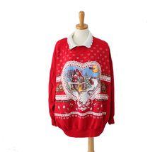Vintage Ugly Christmas Sweater // Nutcracker Red Novelty Sweatshirt Women Men 3X // busy cabin scene by bluebutterflyvintage on Etsy