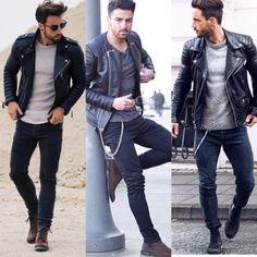look masculino jaqueta de couro