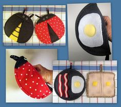 Bundle Pack: Ladybug and Bee, and Egg, Bacon and Toast Pot Holders/Pot Pinchers
