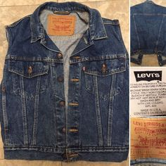 Vintage Levi's Denim Vest 70595 4891 Made In USA SMALL Trucker Biker  | eBay