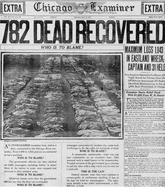 Nearly 900 people died when SS Eastland capsized in the Chicago River. Chicago Examiner front page, July Chicago River, Chicago City, Cicero Illinois, Post Mortem, San Francisco Earthquake, Newspaper Headlines, Drame, My Kind Of Town, Natural Disasters
