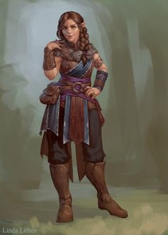f Half Elf Druid Med Armor Mixed Forest path by Darantha DeviantArt lg Fantasy Character Design, Character Creation, Character Design Inspiration, Character Concept, Character Art, Dungeons And Dragons Characters, Dnd Characters, Fantasy Characters, Female Characters