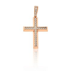 Cross+in+14K/18K+with+cubic+zirconia,+in+gold,+white+and+rose.Dimensions:+width+17.20mm+x+height+32.40mm