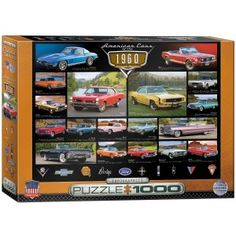 """The peak of the muscle car concept was reflected in most of the 1960's models. This 1960's Cruisin' Classics 1000-piece jigsaw puzzle by Eurographics includes Dodges, Pontiacs, and others. The finished puzzle has a size of 19.25"""" x 26.5"""".Eurographics puzzles are made according to high standards; 100% recyclable materials, non-toxic and vegetable based inks, 0.07"""" blueboard for exact piece fit without fraying, and certified by the Forest Stewardship Council."""