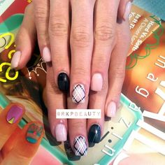 Hand painted nail art, gel polish over hard gel nails, matte black checkered accent finger.