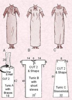 Fancy Dress - Amateur Dramatics - 3 Free Easy Egyptian Costume Pattern Guides for Tunics