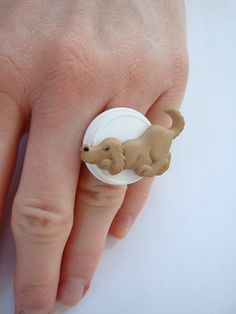 Adjustable Ring. I Love My Puppy Button ring Fresh by PernillasSS, $9.00