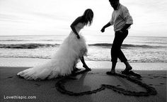 Beach wedding heart love cute photography wedding couples beach ocean