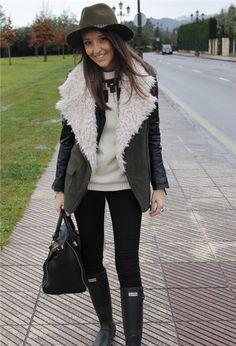 hat, shearling jacket