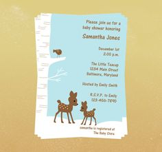 winter baby shower deer invite @Robin S. Carey I like these invites.