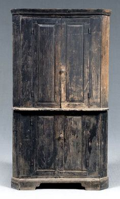 Love old black paint! Southern walnut corner cupboard,
