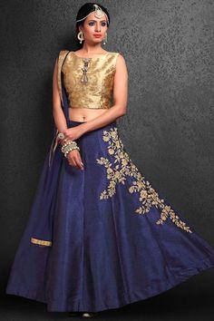 Gold Raw silk Stone Embroidered Bridesmaids Lehenga-GC2171