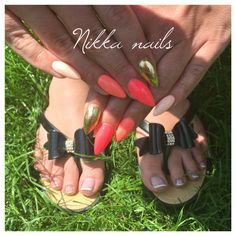 Neon nalis, summer nails, orange nails, gold foil, french macure, hand and feet, long nails, almond, crazy nails