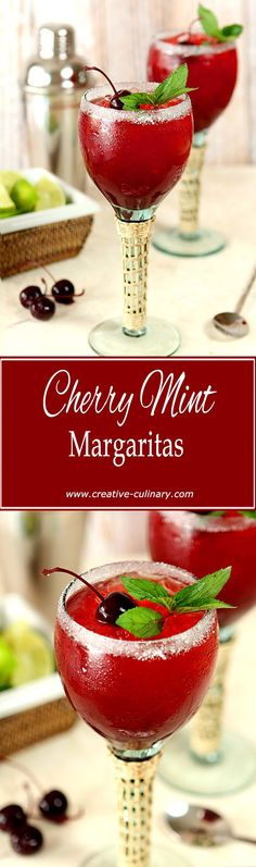 Combine two summer favorites into one fabulous cocktail; this Cherry Mint Margarita is a winner! via @creativculinary #cocktaildrinks