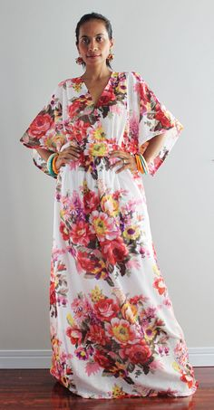 Boho Kimono Dress  Women Kaftan Long Maxi Dress  Boho by Nuichan, $55.00